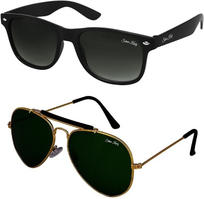 Silver Kartz Wayfarer, Aviator Sunglasses(Black, Green)