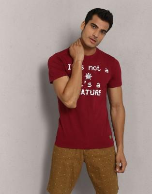 Metronaut Printed Men Round Neck Maroon T-Shirt