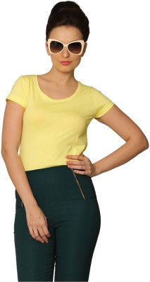 Miss Chase Casual Short Sleeve Solid Women Yellow Top