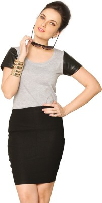 Miss Chase Casual Short Sleeve Solid Women Grey Top Miss Chase Women's Tops