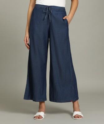 Biba Relaxed Women Blue Trousers