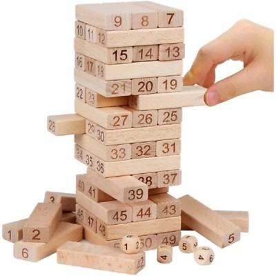 Dhawani 51 Wooden Building blocks with 3 Wooden dice Jenga Learning Game for Kids Brown Dhawani Blocks   Building Sets