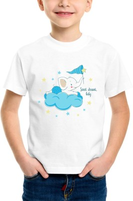 Limit Fashion Store Boy's & Girl's Graphic Print Cotton Polyester Blend T Shirt(White, Pack of 1)