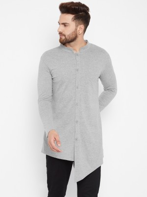 Hypernation Men Solid Straight Kurta(Grey)