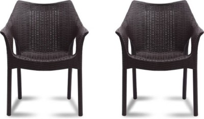 Supreme Cambridge Plastic Outdoor Chair Set Of 2 Plastic Living Room Chair(Finish Color - Brown)