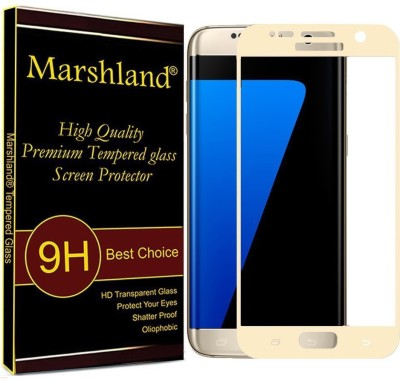 Marshland Tempered Glass Guard for Samsung Galaxy S7 High Quality Screen Protector 5D Curved Edge 9H Hardness 0.3mm Thickness 99% Transparency Glass Screen Protector (Gold)(Pack of 1)