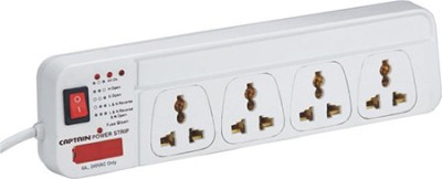 Captain Captain Power Strip 1.5 Mtrs  1 Switch / 4 Socket   4 Socket Extension Boards White