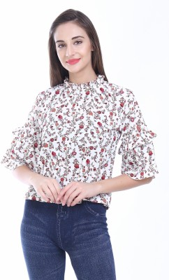 Itrra Party Bell Sleeve Floral Print Women White Top Itrra Women's Tops