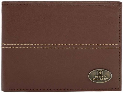 SWISS MILITARY Men Brown Genuine Leather Wallet 8 Card Slots SWISS MILITARY Wallets