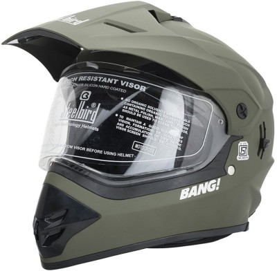 Steelbird BANG Motorbike Helmet(BATTLE GREEN)