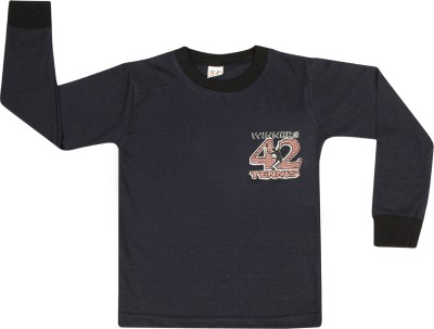 SR Kids Boys Printed Cotton T Shirt(Dark Blue, Pack of 1) Flipkart