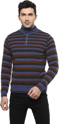 Peter England Striped High Neck Casual Men Reversible Multicolor Sweater at flipkart