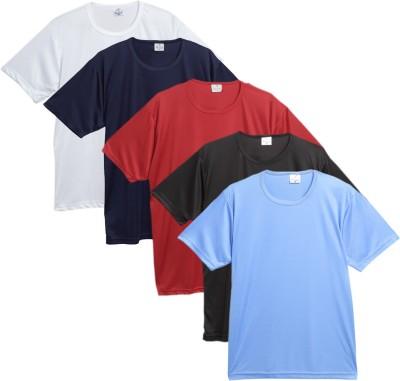 f9b15944fe3 71% OFF on Rico Sordi Solid Men s Round Neck Multicolor T-Shirt(Pack of 5)  on Flipkart