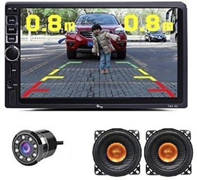 myTVS TAV-40 HD Touch Screen Car Stereo Media Player with Bluetooth/USB/MP5/MP3 & Mirror Link + 8 LED Reverse Parking Camera + 4 inch 180W Dual Cone Speaker Combo