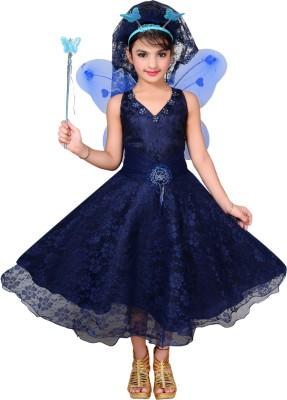 Ahhaaaa Girls Maxi/Full Length Party Dress(Dark Blue, Sleeveless)