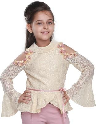 Cutecumber Baby Girls Party Lace Full Sleeve Top(Beige, Pack of 1) Flipkart