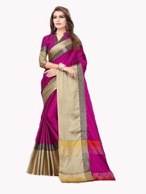 Bhuwal Fashion Solid, Woven Fashion Silk Cotton Blend Saree(Pink, Beige)
