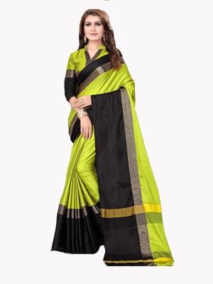 Bhuwal Fashion Woven Fashion Silk Cotton Blend Saree(Light Green, Black)