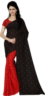 Anand Sarees Polka Print Daily Wear Georgette Saree(Black)