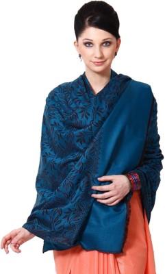 Weavers Villa Wool Woven Women Shawl(Blue)