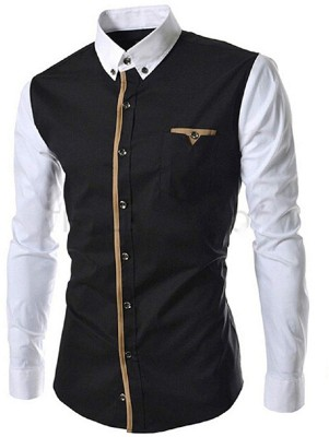 ShopyBucket Men Solid Party Black, White Shirt