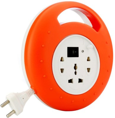 Mettle Extension Board 6 Amp 3 Plug Point with Master Switch 3 Socket Surge Protector(Orange, White)