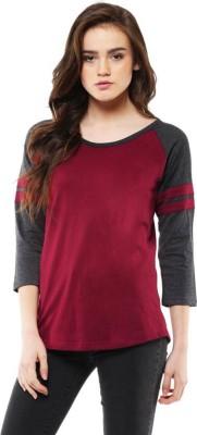 Veirdo Solid Women Round Neck Maroon, Grey T Shirt Veirdo Women's T shirts