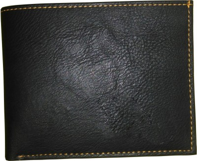 Welo Men Black Genuine Leather Wallet 4 Card Slots