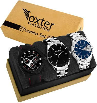 Foxter Combo Of Three Metallic And Leather Super Quality Watch Watch Watch  - For Men