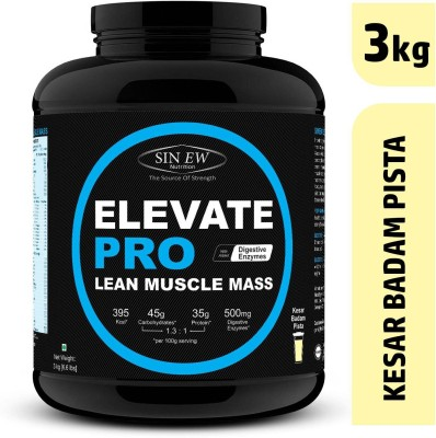 Sinew Nutrition Elevate Pro Lean Muscle Mass Gainer Protein Powder with Digestive Enzymes Weight Gainers/Mass Gainers(3 kg, Kesar Badam Pista)