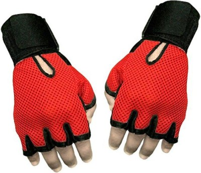 Gillz Sports Gym & Fitness leather Netted Gloves (Free Size) Multi Colour Gym & Fitness Gloves(Red)