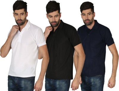 Concepts Solid Men Polo Neck Black, Blue, White T-Shirt(Pack of 3)