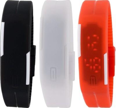 blutech Unisex Silicone Set of 3 Black,White & Orange Digital Led Bracelet Band Watch for Boys & Girls - Combo Offer Watch  - For Boys
