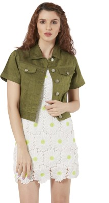 Merlot Half Sleeve Solid Women Denim Jacket Merlot Women's Jackets