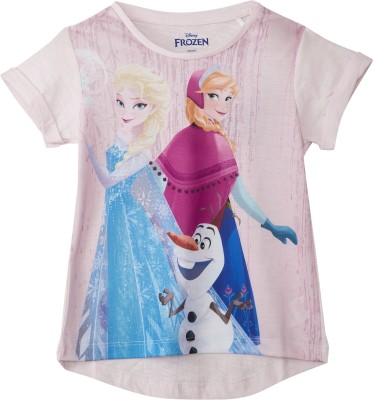 1e681bf45 14% OFF on Frozen Girl's Graphic Print Cotton Polyester Blend T Shirt(Pink,