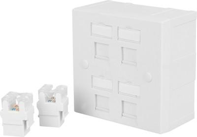 D-Link Combo Deals - Two RJ45 CAT6E Lan I/O Network Keystone Jack + Gang Box + Four Window Face Plate Dlink - 1 Set Network Interface Card(White)