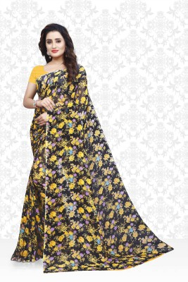 Divastri Floral Print Daily Wear Faux Georgette Saree(Black, Yellow) Flipkart