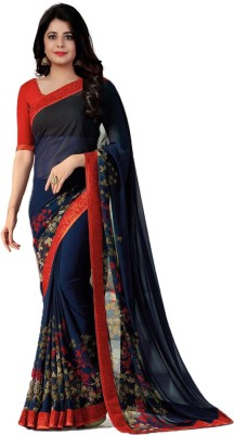 The Fashion Outlets Striped, Printed Daily Wear Chiffon, Faux Georgette Saree(Blue)