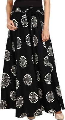 Kotton Trends Printed Women A-line Black Skirt
