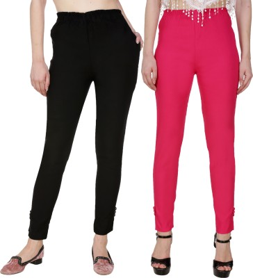 Blugee Regular Fit Women Black, Pink Trousers