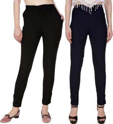 Blugee Regular Fit Women Black, Dark Blue Trousers