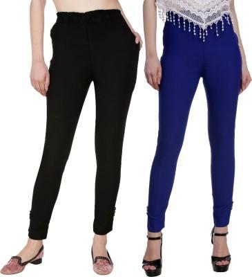 Blugee Regular Fit Women Black, Blue Trousers