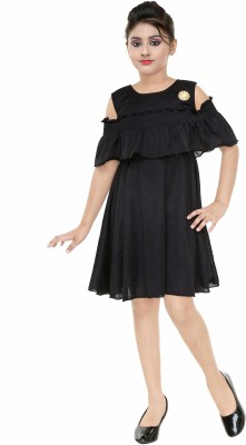 FTC FASHIONS Girls Mini/Short Party Dress(Black, Fashion Sleeve)