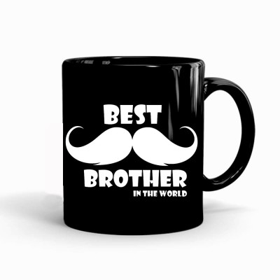 MUGKIN BEST BROTHER IN THE WORLD Printed Ceramic 350ml for Rakhi Gift to Brother, Gift for Bro, Gift for Cousin (MKIN-8943564715954) Ceramic Coffee Mug(350 ml)