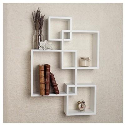Furniture Café Furniture Café Wooden Intersecting Wall Shelves/Shelf for  Living Room | Set of 4 | White Wooden Wall Shelf(Number of Shelves - 4, ...