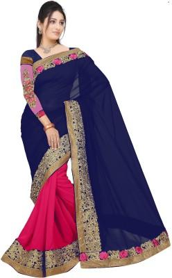 Aashvi Creation Embroidered Fashion Georgette Saree(Dark Blue, Pink)