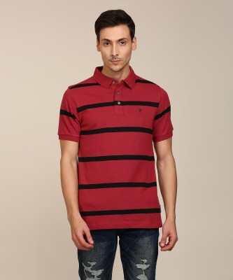 French Connection Striped Men Polo Neck Maroon T-Shirt at flipkart