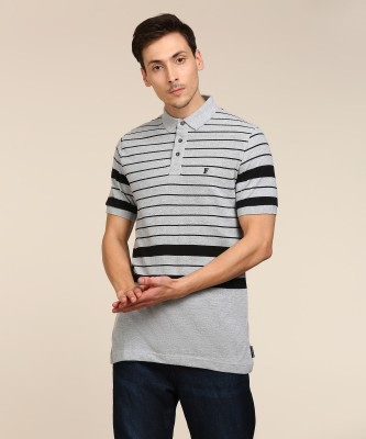French Connection Striped Men Polo Neck Grey T-Shirt at flipkart