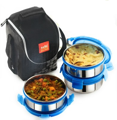 cello Steel Click-3-Plus 3 Containers Lunch Box(900 ml)