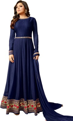 AnK Poly Georgette Embroidered Salwar Suit Material(Semi Stitched)